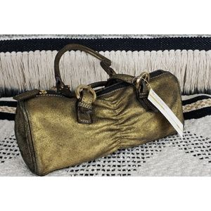 NWT Mondani Gold Distressed Leather Shoulder Bag